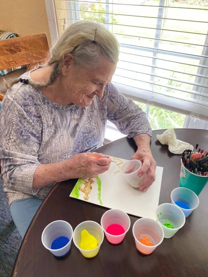 Residents enjoy crafts among other indoor and outdoor activties